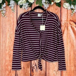 NWT Good Luck Gem Striped Tie-Knot Button Up Top